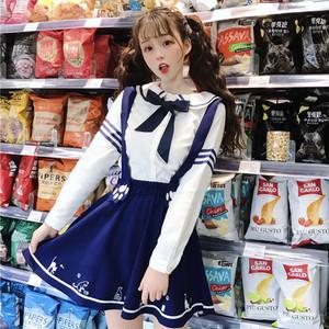 【トップス】日系キャンパスリボンラウンドカラーボウタイ長袖シャツ