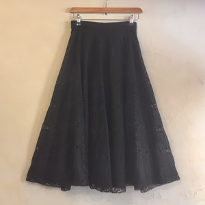 black lace flare skirt