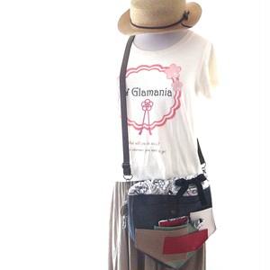 【夏の福袋4点セット】ポケット好きさんの為のペンタゴン(5角形)巾着ショルダーバッグ インディゴ×モノトーンフラワー