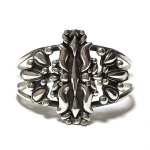 Navajo Sterling Silver Detailed Bangle by Lorenzo James