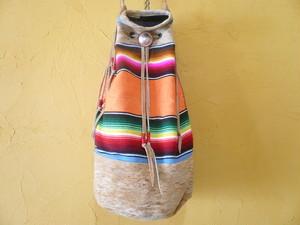 ビンテージ メキシコ サラペ × 鹿革 ディアスキン ドラムバッグ