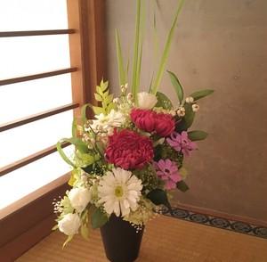 輪菊の仏花(ラズベリー)プリザーブドフラワー
