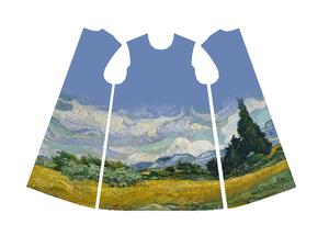糸杉のある麦畑 7号(絵画チュニックパターンデータ)