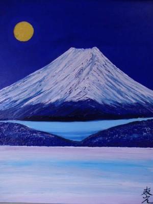 F20号、月と富士山、友之