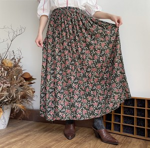 old flower rayon skirt