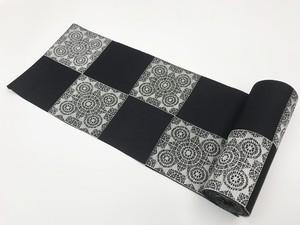 デザイン閲覧用【D表面】市松レース:黒地に銀レース(オリジナル西陣織半幅帯:片面)