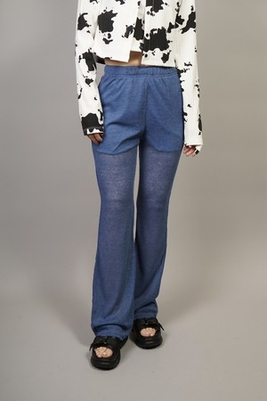SEE-THROUGH FLARE PANTS  (BLUE) 2104-81-38