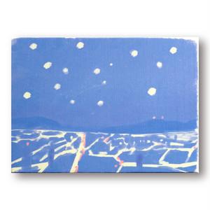 【送料無料、リトグラフ】「夜景・大阪」A5サイズ 額装なしでも飾れる リトグラフ、絵画、美術