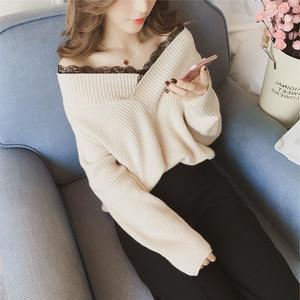 【トップス】ニットセーター女子力アップレースVネック長袖ファッション23458256