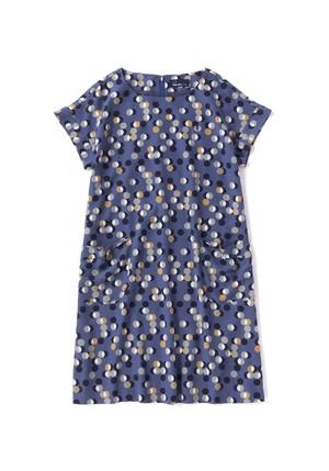 (フレッドペリー) FRED PERRY F8343 03 WOMEN PRINT DRESS 幾何柄ドットプリントドレス NAVY
