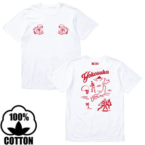 蒲谷正之 × MOBS yokosuka cotton tee white/red