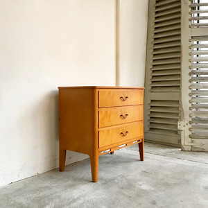 Birch Wood Bedside Drawer Chest 60's オランダ