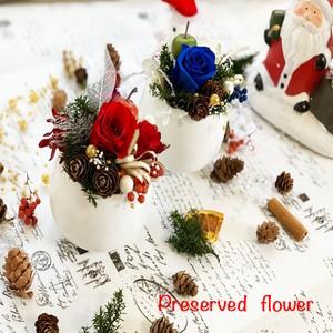 クリスマスプリザーブドフラワー2color RED・BLUE