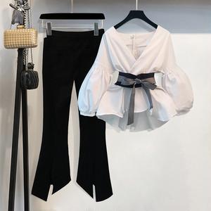 【set】2点セットパフスリーブVネックファッションストライプスリット