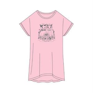 バニちゃん&にーにくんTシャツ<フロストピンク>フリーサイズ