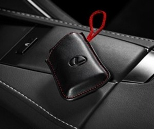 Lexus LS/LC Smart Access Key Glove - Black with Red Cord