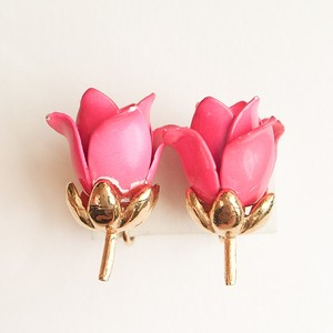 pink rose earring[e-817]