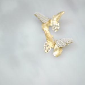【2点のみ再販】ゴールド バタフライ 刺繍スワロフスキー