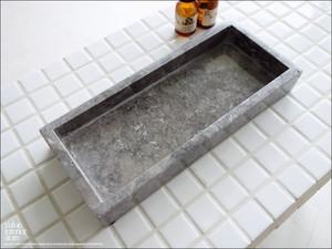 大理石トレイSQ-GY 天然大理石 マーブルトレイ 小物入れ 長方形 ペン置き 自然石 洗面用品置き トレー 手作り W23 x D10cm