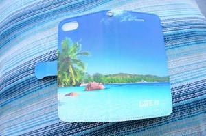 LIFE is BEACHヤシ手帳型スマホケース iPhone5~8、Android(S,M)用