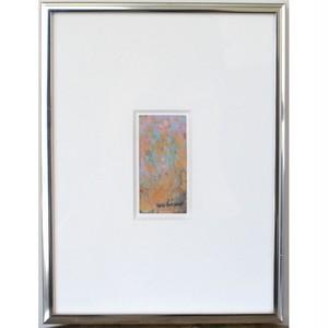 「無題」 古いバスチケットにアクリル * 現代美術 アート作品 抽象画 アンティーク 額縁 内野隆文 takafumiuchino