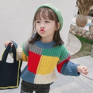 【トップス】配色ラウンドネック長袖セーター24375449