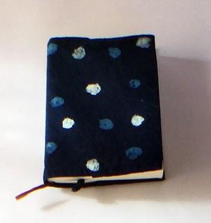 藍染2色の水玉ブックカバー