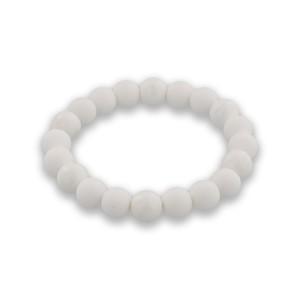バランスブレスレット600ホワイト・ラウンドシリコーンビーズ (ホワイト10mm)