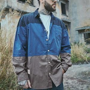 メンズ長袖シャツ大きいサイズ。マルチカラーボーダー