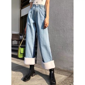 irregularity color bore wide pants