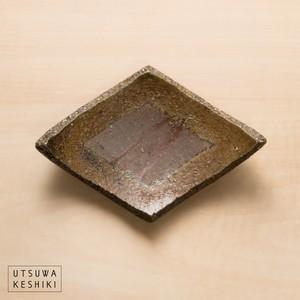 [平岡 仁]焼き〆 ひし形 豆皿