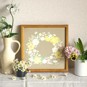 「春のリース(ドラジェ*ベージュ)」20cm角ポスター