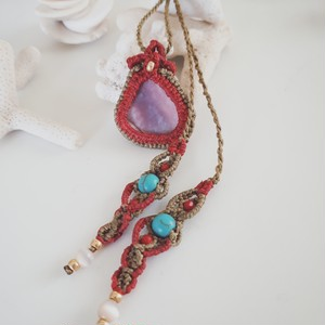Purplish shell macrame  necklace