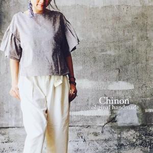 Chinon oliginal handmade ドットギャザー袖ブラウス