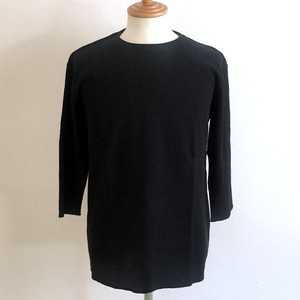 Waffle Crew Neck Cut & Sewn(Three-Quarter) Black
