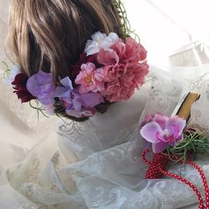 限定sale【送料無料】ヘアパーツとお揃い。桜と胡蝶蘭で、春の扇子ブーケ -pink-