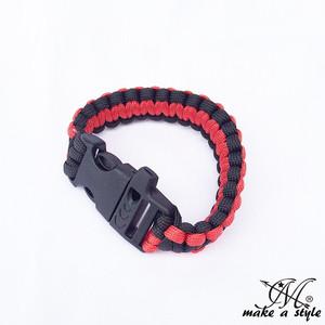 パラコード ブレスレット サバイバルブレス ロープ 赤x黒 レッド ブラック B系 ストリート系 ヒップホップ スケーター パンク ロック sk8  102
