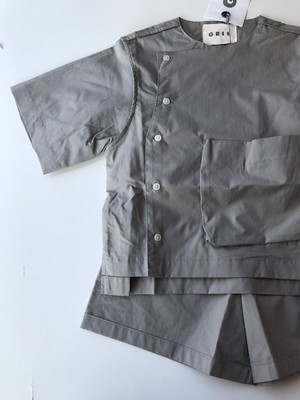 GRIS グリ cook short sleeve shirts GRAY/ST Size:M(120~135)