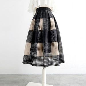 透かし編み大柄チェックスカート