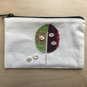 【コラボ商品】さをり織りを使った一点物ポーチ