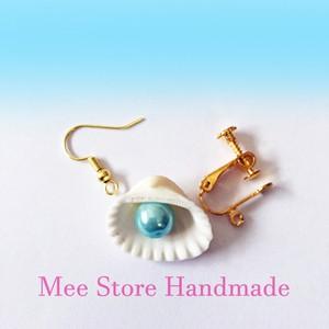 白い貝殻とパールのピアス ホワイト・シェル