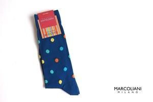 マリコリアーニ|marcoliani|クルー丈ピマコットンドット柄ソックス|Multicolor dots 081 Royal blue