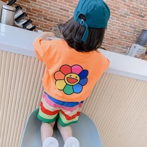 【セット】ファッション配色プリント半袖プルオーバー2点セットアップ28647145