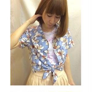 花柄開襟シャツ(ブルー)