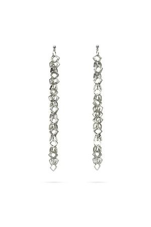 Square Hoop Millefeuille earrings | SILVER