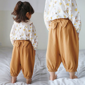 【ボトムス】オススメ リボン飾り ゆったり 無地 女の子 ロングパンツ29594224