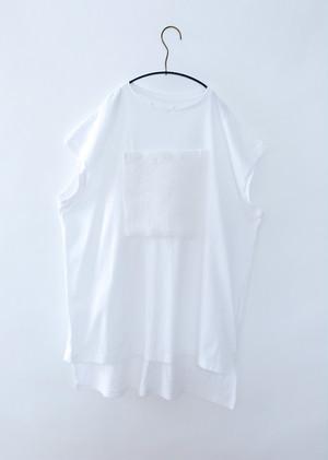 【20SS】ミチリコ(michirico) メッシュポケットTシャツワンピース ホワイト[S/M]