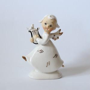 Ceramic Angel with Harp・陶器のハープを持った天使 U.S.A