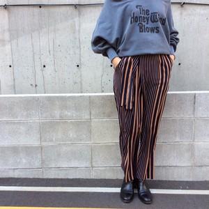HOOCHIE COOCHIE/ストライプラップ風ワイドパンツ