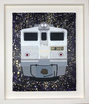 EF30型電気機関車21号機 ブルートレイン「あさかぜ」ヘッドマーク オリジナル原画 キャンバスにアクリル絵具